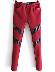 Women's Color Block Red / Green / Orange Chinos PantsSexy Fall