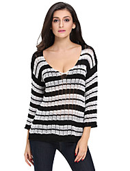 Women's Stripes Long Sleeve Sheer Knit Sweater