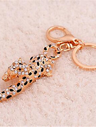 Zinc Alloy Leopard Car Key Chain Rhinestone