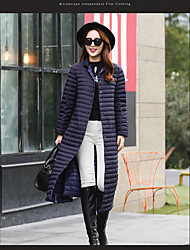 Women's Long Down Coat,Simple Casual/Daily Solid-Others White Duck Down Long Sleeve Black / Purple