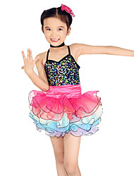 Dresses Performance Spandex / Tulle Paillettes / Sequins / Tiers 3 Pieces Ballet Sleeveless NaturalDress /