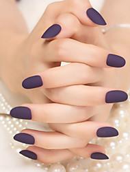 24Pcs Matte Deep Purple Pure Color Nail Strips Fashion And Elegant 1Set