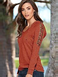 Damen Solide Einfach / Street Schick Ausgehen / Lässig/Alltäglich T-shirt,Rundhalsausschnitt Frühling / Herbst Langarm Rot / Lila