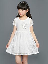 Robe Fille de Couleur Pleine Sortie Coton / Autres Eté Orange / Blanc