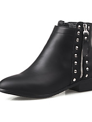 Women's Low-top Chains Soft Material Low-Heels Round Closed Toe Boots