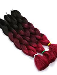 """Огромный Box плетенки Ombre Braiding Hair Kanekalon Вино Белый Синий Зеленый Желтый Наращивание волос 24 """" косы волос"""