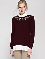 Mujer Regular Pullover Casual/Diario Simple,Un Color Rojo Escote Chino Manga Larga Lana / Pelo de Conejo / Nailon Otoño / Invierno Medio