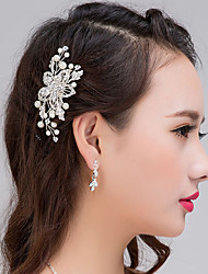 Bride's Leaves Imitation Pearl Wedding Hair Accessories Tiaras Hair Combs 1 Pieces