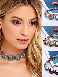 Vintage Fashion Bohemia Turquoise Moon Shape Choker Necklace For Women Ethnic Style Statement Necklace Party Jewelry