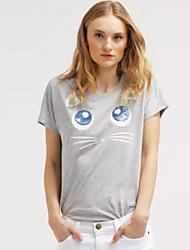 Damen Tierfell-Druck Niedlich Ausgehen T-shirt,Rundhalsausschnitt Sommer Kurzarm Grau Baumwolle / Polyester Mittel