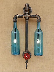 AC 220V-240V 6W E27 BGB007 American - Themed Restaurant Bar Iron With Switch Water Pipe Wine Bottle Wall Lamp Blue