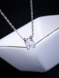 Necklace AAA Cubic Zirconia Pendant Necklaces Jewelry Halloween / Wedding / Party / Daily / Casual Fashion Sterling Silver / Zircon Silver