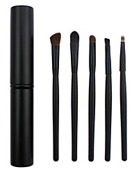 5 Makeup Brushes Set Horse/ Synthetic Hair Professional / Portable Wood Face/Eye / Lip Black