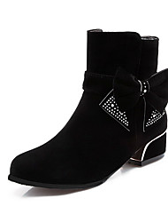 Women's Imitated Suede Low-top Solid Zipper Low-Heels Boots