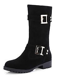 Mujer-Tacón Bajo-Confort-Botas-Vestido / Casual-Semicuero-Negro / Beige