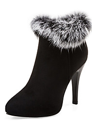 Women's Shoes Stiletto Heel Pointed Toe Zipper Ankle Bootie with Fur More Color Available