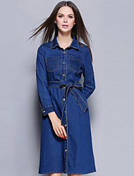 YBKCP  Women's Going out / Casual/Daily Vintage / Simple Denim DressSolid Shirt Collar Knee-length Long Sleeve Blue Cotton / PolyesterFall /