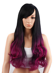 Long Wavy Hair Black and Purple Color Synthetic Wigs for Women