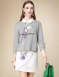 Damen Kurz Pullover-Lässig/Alltäglich Einfach Tierfell-Druck Grau Rundhalsausschnitt Langarm Baumwolle Herbst Dünn Mikro-elastisch