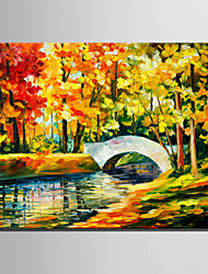 Mini Size E-HOME Oil painting Modern Fenglin Bridges Pure Hand Draw Frameless Decorative Painting