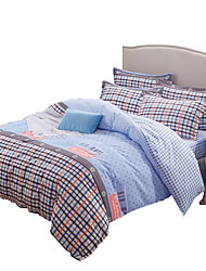 Plaid Duvet Cover Sets 4 Piece Polyester Pattern Reactive Print Polyester Twin / Full / Queen / King4pcs (1 Duvet Cover, 1 Flat Sheet, 2