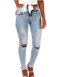 Women's Solid Blue Jeans Pants,Simple / Street chic All Seasons