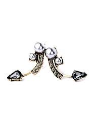 European Style Luxury Gem Geometric Earrrings Pearl Stud Earrings for Women Fashion Jewelry Best Gift