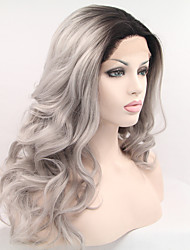 Sylvia Synthetic Lace front Wig Black Roots Grey Hair Heat Resistant Long Wavy Synthetic Wigs