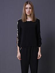 Damen Leopard Sexy / Einfach Ausgehen T-shirt,Rundhalsausschnitt Alle Saisons Langarm Schwarz Baumwolle Mittel