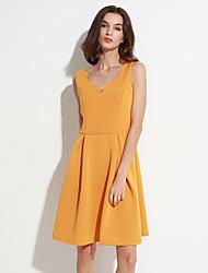 женская старинная тонкий v шеи сплошной цвет платье без рукавов