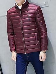 Masculino Casaco Acolchoado,Simples Sólido Casual-Outros Poliéster Manga Longa Colarinho Chinês Azul / Vermelho
