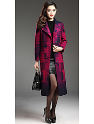 Women's Casual/Daily Simple Coat,Print Long Sleeve Winter Purple Others Thick