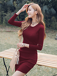 Sign 2016 Hitz European and American retro burgundy skirt Slim thin wild knit dress