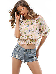 Women's Off The Shoulder Casual/Daily Cute Summer / Fall BlousePrint Boat Neck Short Sleeve Pink Polyester Medium