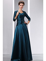 A-line Mother of the Bride Dress Floor-length 3/4 Length Sleeve Taffeta with Appliques / Beading