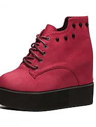 Women's Boots Fall Platform PU Casual Platform Burgundy