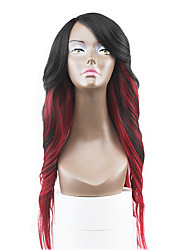 New Style Auburn Red Two Tones Ombre Hair Lace Front Natural Wavy Synthetic Lace Wigs