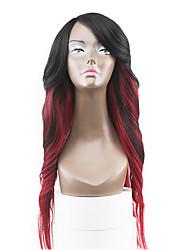 neuen Stil kastanienbraunen roten zwei Töne ombre Haarspitze-Front natürlichen gewellten synthetische Spitzeperücken