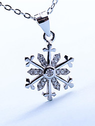 Women's Jewelry S925 Silver Zircon Charm Snowflake-shaped Pendant for Women
