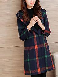 Women's Casual/Daily Simple / Street chic CoatPlaid Slim Loose Hin Thin Hooded Long Sleeve