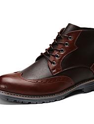 Черный / Синий / Коричневый-Мужской-На каждый день-Кожа-На плоской подошве-Туфли Мери-Джейн-Туфли на шнуровке