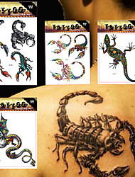 4 Tattoo Stickers Animal Series / Totem Series / Others / Cartoon Series Non Toxic / Pattern / Large Size / Lower Back / Waterproof / 3-D