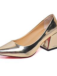 Damen-High Heels-Lässig-PU-Blockabsatz-Komfort-Braun Silber Gold