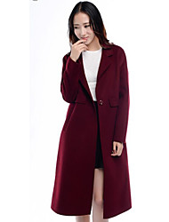 Women's Casual/Daily Simple Coat,Solid Long Sleeve Blue / Red Special Fur Types