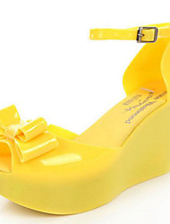 Women's Sandals Summer Slingback Rubber Casual Wedge Heel Bowknot