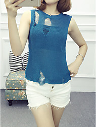 Women's Casual/Daily Simple Regular VestSolid Multi-color Round Neck Sleeveless Others Thin Inelastic