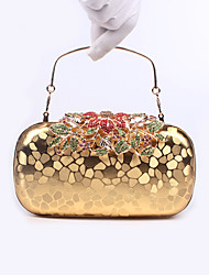 Women Bags All Seasons PU Poly urethane Evening Bag with Crystal/ Rhinestone for Wedding Event/Party Formal Black Silver Red Golden