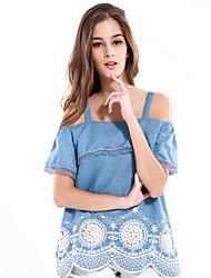 Damen Solide Einfach Ausgehen / Lässig/Alltäglich T-shirt,Gurt Sommer / Herbst Kurzarm Blau Baumwolle / Polyester Mittel