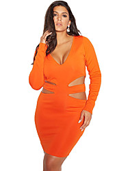 Women's Orange Curvaceous Cut Out Long Sleeve Mini Dress