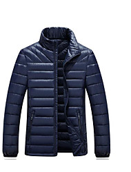 Men's Regular Down Coat,Simple Casual/Daily Solid-Polyester White Duck Down Long Sleeve Blue / Orange